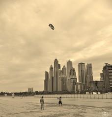 Kitesurfing training - 1 - Dubai Marina Beach, UAE (kadryskory) Tags: people beach sport clouds skyscraper training buildings sand dubai skyscrapers uae kitesurfing dubaimarina dubaimarinabeach kadryskory