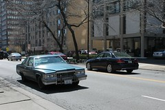 Boulevardier (Flint Foto Factory) Tags: auto city blue roof urban chicago motion classic car moving illinois spring automobile gm north platform vinyl cadillac lakeshoredrive lsd chrome american hollywood april 1977 deville sheridan luxury coupe edgewater inmotion treatment fullsize generalmotors 2016 landau downsized cbody worldcars nsheridanrd