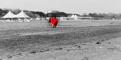 A beach bull fighter but no tourist to charge (morag.darby) Tags: venice red people blackandwhite italy beach seaside sand nikon europe tent shore nikkor lido beachvendor d3300