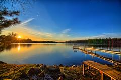 Sun Setting over Lake 26 (Mercenaryhawk) Tags: camping sunset sun lake nature water beautiful wisconsin canon landscape spring dock cabin 26 mark iii relaxing sunny 5d danbury hdr
