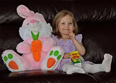 Bunny and Ember 3 27 2016 (rbdal (Rick Dalrymple)) Tags: family portrait stuffedtoy rabbit bunny oregon easter march kid spring nikon child granddaughter grandchild ember youngster aloha washingtoncounty d7000