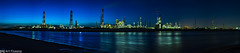 Blue Factories (Art Fiveone) Tags: leica sky panorama reflection industry japan factory nightshot summicron  nightview  mie yokkaichi   shiohama   yokkaichiindustrialarea