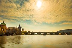 sunshine at Prague (dtapkir) Tags: blue sky sun white black nature water sunshine architecture clouds river landscape boats nikon europe prague harbour charles shore d750 romantic wintercityscape