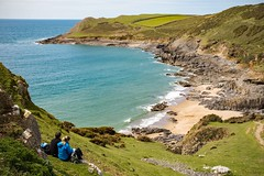 gazing down over Fall Bay (dgmann11) Tags: sea grass wales sand waves fields