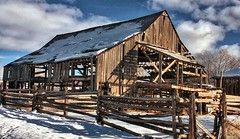 """So, my wife asked me how I was feeling and I simply replied that it wasn't a good day ...."" (Parowan496) Tags: wood old morning snow barn neglected decrepit beams photostream goodfornothing barelystanding inpoorshape"