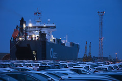 January 23rd 2016 - Project 366 (Richard Amor Allan) Tags: cars car docks evening boat twilight dock ship cargo grimsby transportership