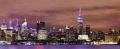 Manhattan view (3dRabbit) Tags: city nyc panorama usa water colors ferry skyline architecture night buildings river newjersey scenery long exposure cityscape waterfront outdoor manhattan nj busy empire hudson hoboken skyscrapper statebuilding 2015 december31th sungjinahn