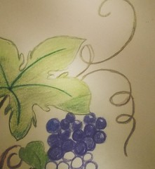 Grape Doodles (worldwar.tori) Tags: sketchbook doodle grapes coloredpencils project366