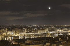 Moonrise over Budapest (Gyrgy Soponyai) Tags: moon hungary budapest luna moonrise nightphoto duna danube donau lnchd nightfoto