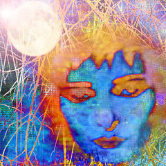 Night Tripper (virtually_supine) Tags: music moon face collage photomanipulation melting creative textures difference montage layers inversion paintdaubs recordcover grisgris digitalartwork vividcolours drjohnthenighttripper psychedlicart 1960smusic accentuatededges photoshopelements13 sourceimagebyskagitrenee kreativepeopletreatthis115 challengescommunitygroupsevenwonderschallengespecialmusicjanuary2016 goldensplinters