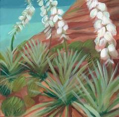 springtime sentinels (EllenJo) Tags: flowers arizona art painting az bloom february yucca 10x10 verdevalley desertflora inbloom 2016 acryliconcanvas localcharacter yuccaelata ellenjo ellenjoroberts yuccaverdiensis foraprilartshow localcharacterartshow