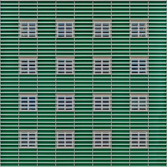 From behind a veil (Paul Brouns) Tags: urban holland green geometric netherlands lines architecture modern facade grid town pattern geometry nederland townhall straight architectuur zaandam