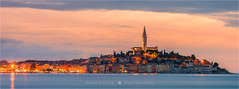 Sunset in Rovinj - Croatia (~ Floydian ~ ) Tags: old city longexposure sunset panorama canon photography evening town twilight mediterranean stitch dusk pano croatia panoramic historic 300mm le stitching peninsula rovigno rovinj mediterraneansea adriaticsea wideview istrian istrie floydian canoneos1dsmarkiii henkmeijer canon300mm28lusm