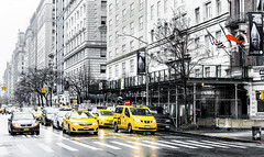 Yellows (Paco CT) Tags: street people usa ny newyork motif car rain yellow calle lluvia agua exterior place gente outdoor escenario cab taxi unitedstatesofamerica yellowcab amarillo coche scenary 2016 pacoct