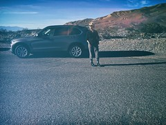 """Baby, you can drive my car..."" (helmet13) Tags: iphone6s she woman road car desert california usa cool travel vacation fun aoi heartaward peaceaward deathvalleynationalpark"