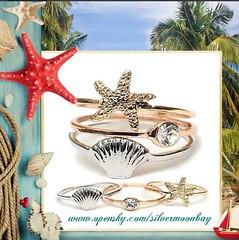 Seashore Rings (SilverMoonBay) Tags: summer sun beach seashells fun spring sand surf starfish trendy seashore opensky giftideas summerstyle springstyle trendyjewelry jewelrygifts summerjewelry discountjewelry affordablejewelry jewelrysales jewelryforless jewelrydeals