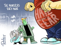 0316 trumpenstein monster cartoon (DSL art and photos) Tags: monster fear politics presidential frankenstein hate donaldtrump republican editorialcartoon despot 2016 divisive donlee electioj