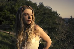 Morgan (lordgogurt) Tags: life lighting trees light portrait people woman sun sunlight tree green nature girl face grass lady female standing canon hair outdoors person evening stand view outdoor dusk body being hill hills gal figure blonde vista canonrebel hillside canonrebelt2i
