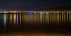 a multitude of candles (keith midson) Tags: bridge reflection night lights tasmania hobart bowenbridge