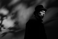Upcycling (seegarysphotos) Tags: light portrait man face hat night self dark glasses noir moody shadows coat experiment jacket drama selfie floweres garylewis seegarysphotos