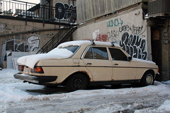 Neglected (Can Pac Swire) Tags: auto old city winter snow toronto ontario canada classic car vintage graffiti beige automobile slow canadian east german mercedesbenz queenstreet broadviewavenue aimg0057