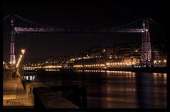 Puente Colgante (Obcasa) Tags: puente spain nikon el bilbao nocturna euskalherria ria portugalete euskadi vizcaya brigde bilbo paisvasco nervin puentecolgante getxo transbordador vizcayabridge