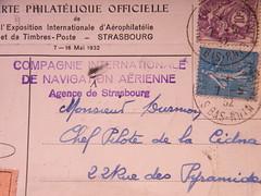 CIDNA pilot Gaston DURMON self-adressed card, verso, detail (afvintage) Tags: paris 1932 stamps postcard strasbourg cathdrale alsace postkarte briefmarken aronautique ruedespyramides timbresposte cidna expositioninternationale durmon arophilatlie