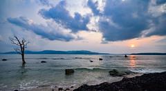 Rocky Sunset (saptarshi95) Tags: ocean sunset sea cloud sun india seascape tree beach water landscape nikon hill andaman
