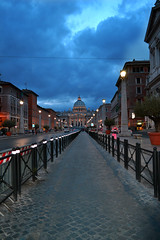 The Holy Way. (Irene Drusiani) Tags: road houses sunset red italy rome roma church colors weather saint way photo big italia zoom blu highlights holy chiesa cupola dome saturation sanpietro giubileo saintpeter longway saturazione bigchurch nikond3100 iublieum