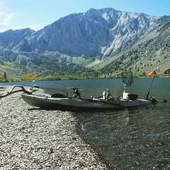 "Last October at Convict Lake, CA... taking a break from fishing for a shoreline lunch - 2011 Stealth 14 (was told by OEX Mission Bay it was the first Stealth 14 off the line with the ""Desert Camo"" color) #MalibuKayaks #kayakfishing #angler #kayak #outdoor"