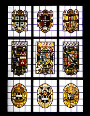 Nine Arms (Steve Taylor (Photography)) Tags: uk greatbritain england london art window glass lines metal museum contrast coatofarms cross bell unitedkingdom albert victoria medieval va gb knight british victoriaandalbert antiquity leadedlights