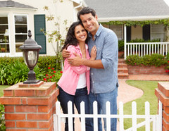 Hispanic couple outside home (senpeter77) Tags: new portrait people woman house man male home smiling horizontal proud female garden outside outdoors happy thirties hugging gate couple realestate adult path dream lifestyle property first pride front together athome hispanic neat ideal 2people shrubs own bungalow 30s owner tidy 20s hedges twenties owning atcamera wellmaintained
