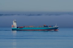 """Containership Hanna in front of a """"wall"""" of fog (frankmh) Tags: sea water fog denmark ship sweden outdoor containership resund cargoship"""