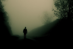 Shadowcast Lane (iratebadger) Tags: road uk light shadow england blackandwhite bw mist monochrome strange silhouette fog rural dark countryside nikon track alone moody quiet shadows gloomy arty path yorkshire country eerie lane daytime solitary lightroom shadowman d7100 eastridings nikond7100 iratebadger