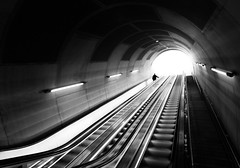 (Svein Nordrum) Tags: light shadow blackandwhite bw oslo stairs contrast noir escalator wide perspective tunnel explore nero explored