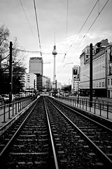 Berlin (I M Roberts) Tags: bw berlin railwayline televisiontower formereastberlin fujix100s