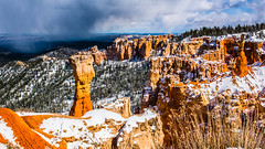 Bryce Canyon 20 (MarcCooper_1950) Tags: trees red sky orange snow colors clouds landscape utah nikon scenery rocks vivid canyon cliffs hills southern boulders hoodoo bryce rainfall hdr formations lightroom mounatins brycecanyonnationalpark geologic d810 marccooper