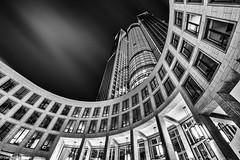 Tower 185@night (www.carstenfrohn.de) Tags: travel zeiss skyscraper germany deutschland reisen nightshot frankfurt sony fineart wanderlust mainhatten langzeitbelichtung weitwinkel schwarzweis tower185