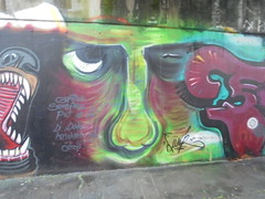 guarda sempre un po' pi in l di dove arrivano gli occhi! (en-ri) Tags: muro verde face wall writing torino graffiti blu funk viso faccia volto