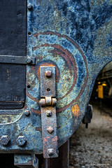 End of the Line (Jae at Wits End) Tags: blue color metal train circle rust mechanical decay rustic arc machine rusty objects wear transportation round oxidation vehicle weathered curve shape corrosion mechanism circular patina corroded oxidized
