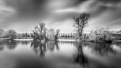 At the Park (Acero666) Tags: longexposure bridge england blackandwhite bw cloud reflection tree abbey aqua leicester belgrave darkart 2016 abbeypark wolsey riversoar sel1635 a7rii