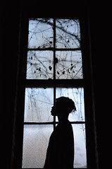 Window and X iii. (miranda.valenti12) Tags: blue trees blackandwhite black abandoned broken window glass leaves silhouette person vines factory image x cracks dreads xzavier
