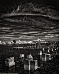 Thea and Rainier (mjardeen) Tags: sky clouds marina landscape ir washington thea waterfront sony 28mm convertion storage infrared wa converted f2 tacoma pilings fe foss mtrainier waterway tanks 282 moorage a7ii 720nm lifepixel landscapesshotinportraitformat a7m2 tonalitypro ilce7m2