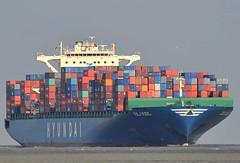 Hyundai Splendor (Bernhard Fuchs) Tags: water boat nikon meer wasser ship ships cargoships vessel cargo hyundai elbe schiffe cuxhaven containerschiff frachtschiff fracht containerschiffe frachtschiffe