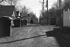 Alley - Great Falls, MT (Rex Mandel) Tags: road street blackandwhite bw monochrome rural alley montana trashcans telephonepoles telephonewires greatfallsmontana