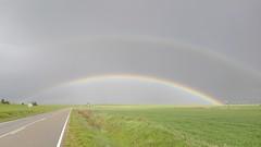 Spring: Rainbow Rainbow (L C L) Tags: road 2 two primavera rain arcoiris spring lluvia rainbow carretera meadows dos campo doble hierba curva 2016 abarcadecampos loretocantero