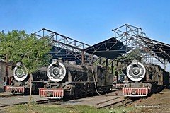 Real Steam in Pakistan in the 21st Century. The metre gauge shed at the lines HQ, Mirpur Khas, On the left, YD 519, YD 518 2-8-2 (Vulcan Foundry/1929), and on the right, YD 522 2-8-2 (Bombay, Baroda and Central India Railway/1932). (wrecksandrelics) Tags: stuart steam kerr steamlocomotive mirpurkhas 282 vulcanfoundry metregauge ydclass steaminpakistan