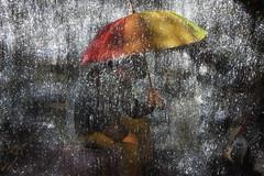 Aaron in a Rain Storm (InteractiveLP) Tags: longexposure light lightpainting rain umbrella painting fun photography entertainment ilp workshop tinsel paintingwithlight icicles collaboration active interaction teambuilding pictorialism jeremyjackson aaronbauer wwwinteractivelpcom