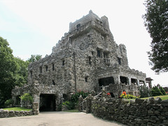 Full Frontal Gillette Castle (Coyoty) Tags: statepark park trees windows summer sky brown building green castle home grass stone wall architecture corner landscape grey theater connecticut gothic gray perspective scenic newengland ct landmark edge ledge balconies actor stonewall gillettecastle easthaddam gillettecastlestatepark williamgillette