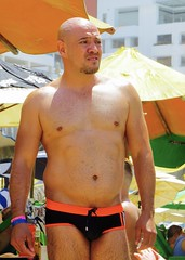 IMG_1234 (danimaniacs) Tags: shirtless man hot sexy guy beach beard trunks speedo swimsuit stud scruff